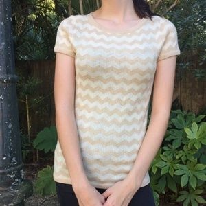 Lilly Pulitzer Gold and Cream Sparkly Knit Top
